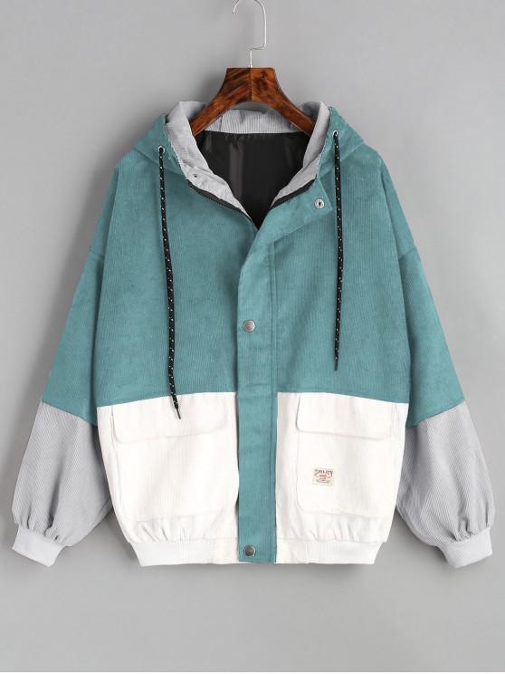 fashion Hooded Color Block Corduroy Jacket - BLUE GREEN XL