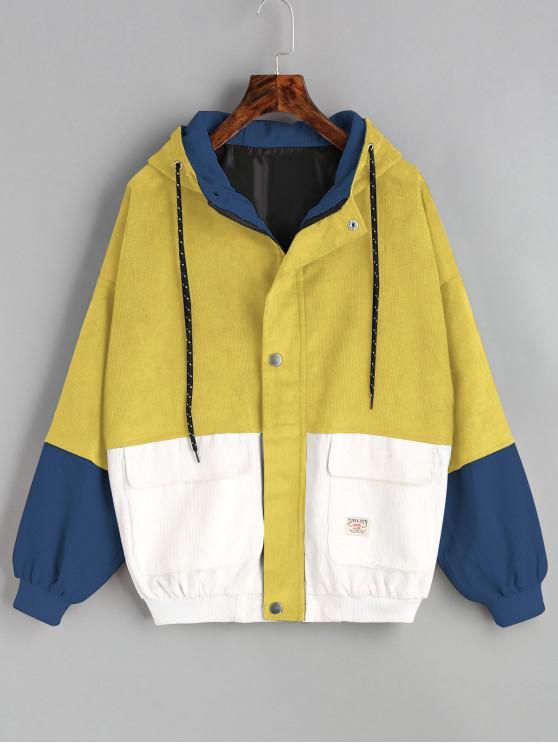 С капюшоном Цветной блок Вельвет Куртка - Жёлтый M