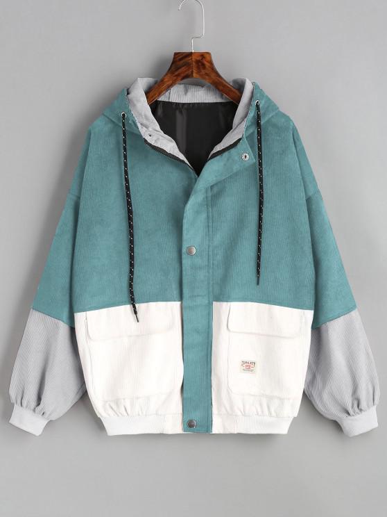 fancy Hooded Color Block Corduroy Jacket - BLUE GREEN L