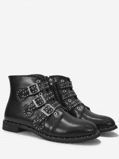 Studs Buckle Side Zip Ankle Boots - Black 37
