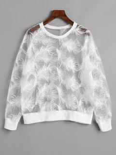 Sheer Feather Sweatshirt - White