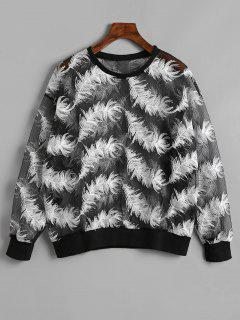 Sheer Feather Sweatshirt - Black