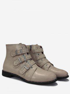 Studs Buckle Side Zip Ankle Boots - Apricot 41
