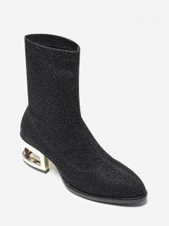 Sequined Cloth Mid-Calf Boots - Black 37
