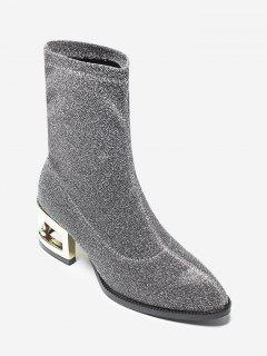 Sequined Cloth Mid-Calf Boots - Silver 37