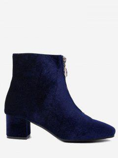 Front Zip Velvet Ankle Boots - Blue 40