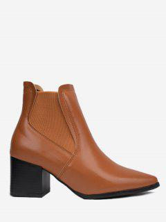 Chunky Heel Pointy Toe Boots - Brown 35