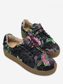 Foral Print Velvet Skate Shoes - Black 39
