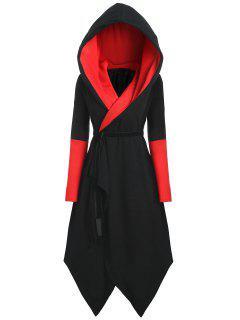 Manteau Asymétrique Contrastant à Capuche Grande Taille - Noir&rouge 5xl