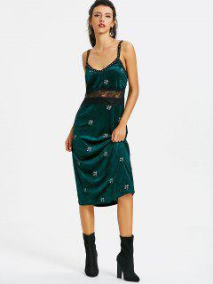 Velvet Studded Embroidered Pinafore Dress - Blackish Green M