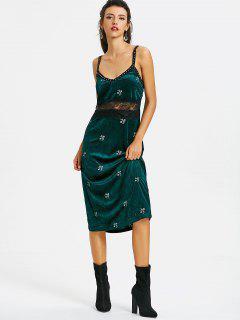 Velvet Studded Embroidered Pinafore Dress - Blackish Green L