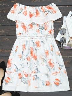 Off Shoulder Hollow Out Flounce Floral Dress - White L