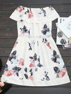Robe Florale Volantée Ajourée à Épaules Dénudées - Blanc Cassé S
