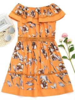 Off Shoulder Hollow Out Flounce Floral Dress - Orange S