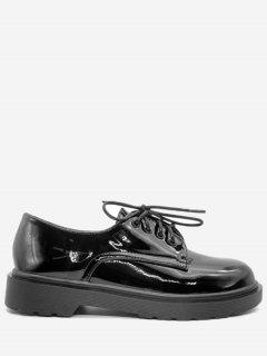 Patent Leather Low Heel Casual Shoes - Black 38