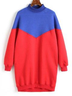 Longline Two Tone Sweatshirt - Red M