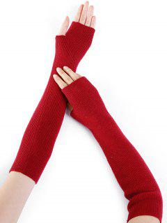 Simple Striped Pattern Knitted Fingerless Arm Warmers - Red