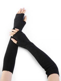 Simple Striped Pattern Knitted Fingerless Arm Warmers - Black