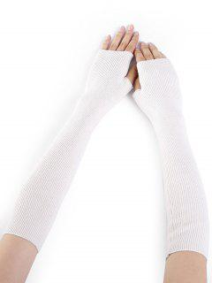 Simple Striped Pattern Knitted Fingerless Arm Warmers - White