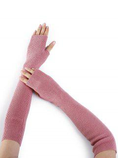 Simple Striped Pattern Knitted Fingerless Arm Warmers - Pink