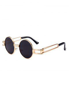 Hollow Out Metal Full Frame Decoration Round Sunglasses - Black