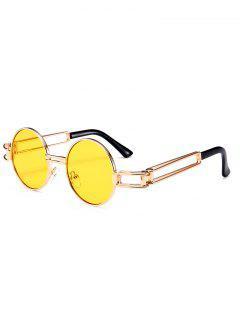 Aushöhlen Metall Full Frame Dekoration Runde Sonnenbrille - Gelb