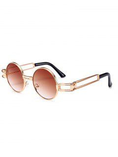 Hollow Out Metal Full Frame Decoration Round Sunglasses - Tea-colored