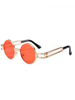 Hollow Out Metal Full Frame Decoration Round Sunglasses - Jacinth