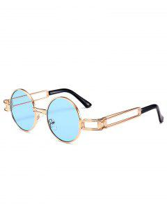 Hollow Out Metal Full Frame Decoration Round Sunglasses - Windsor Blue