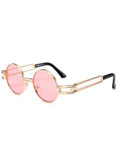 Hollow Out Metal Full Frame Decoration Round Sunglasses - Light Pink
