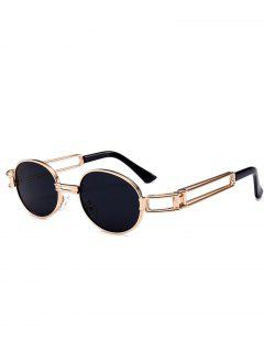 Hollow Out Decorated Metal Full Frame Oval Sunglasses - Black
