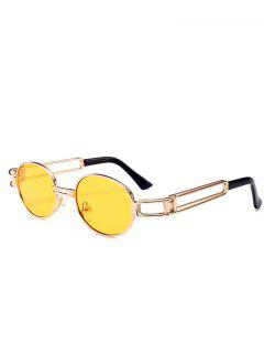 Hollow Out Decorated Metal Full Frame Oval Sunglasses - Yellow