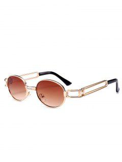 Hollow Out Decorated Metal Full Frame Oval Sunglasses - Tea-colored