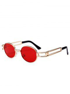 Hollow Out Decorated Metal Full Frame Oval Sunglasses - Red