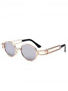 Hollow Out Decorated Metal Full Frame Oval Sunglasses - Reflective White Color
