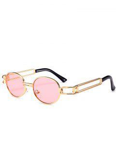 Gafas De Sol Ovales Decoradas De Metal Con Marco Completo - Rosa