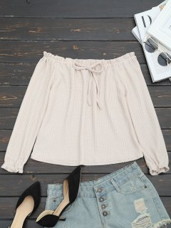 Off The Shoulder Bowknot Knitted Top - Apricot S