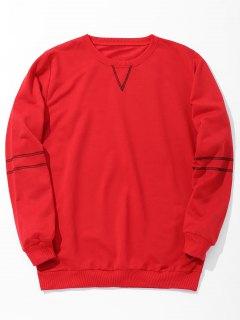 Stitching Mens Sweatshirt - Red Xl