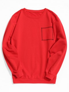 Square Stitching Sweatshirt - Red L