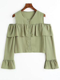Cold Shoulder Flare Sleeve Flounce Chiffon Blouse - Pea Green Xs