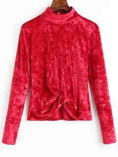 Blusa De Terciopelo Recogido Cuello Alto - Rojo Oscuro M