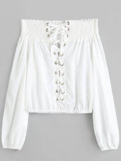 Blusa Sin Cordones Con Hombros Descubiertos - Blanco S