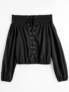 Off Shoulder Smocked Lace Up Blouse - Black S
