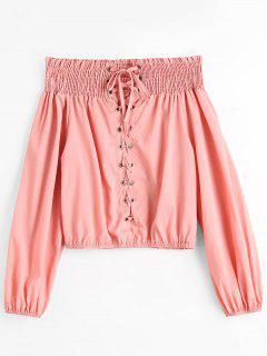 Blusa Sin Cordones Con Hombros Descubiertos - Rosa L