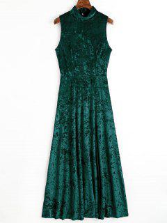 Open Back High Slit Velvet Maxi Dress - Blackish Green S