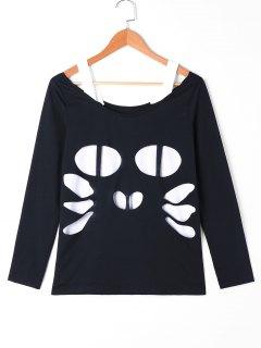 Einfarbige Katze Ausgeschnitten T-Shirt - Schwarz 2xl