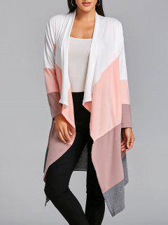 Asymmetric Color Block Open Front Cardigan - Pink