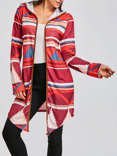 Cardigan Multicolore à Capuche Et à Imprimé Géométrique  - Rouge Xl
