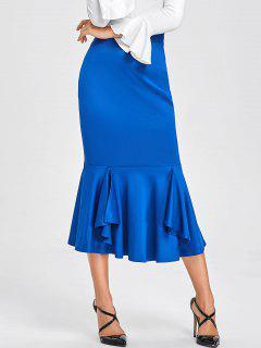 Jupe Moulante à Taille Haute Et Sirène - Bleu S