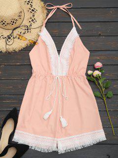 Combi-short Sans Dos Dos Nu En Crochet - Rose Abricot L